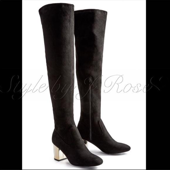Shoe Dazzle Shoes - BNIB Black Faux Suede OTK Boots with Gold Heels